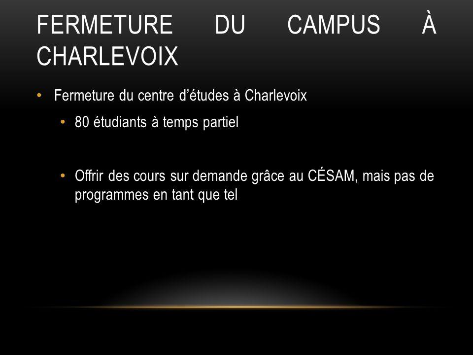 FERMETURE DU CAMPUS À CHARLEVOIX Fermeture du centre détudes à Charlevoix 80 étudiants à temps partiel Offrir des cours sur demande grâce au CÉSAM, mais pas de programmes en tant que tel