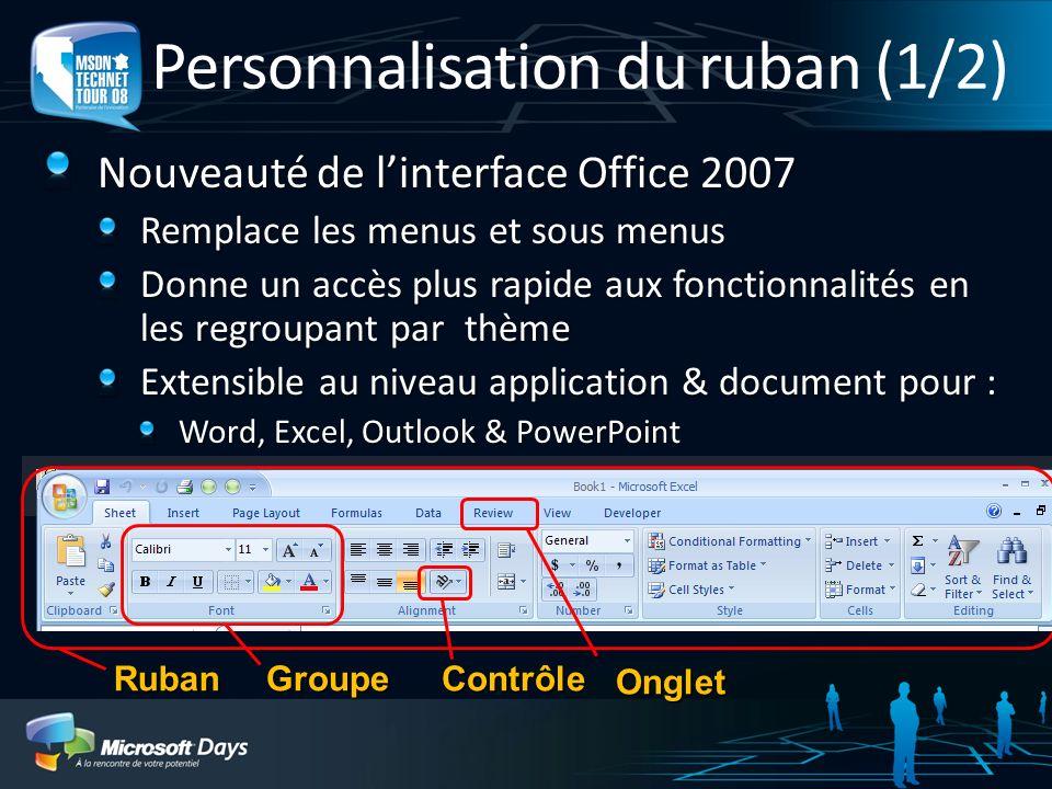 Personnalisation du ruban (1/2) Nouveauté de linterface Office 2007 Remplace les menus et sous menus Donne un accès plus rapide aux fonctionnalités en