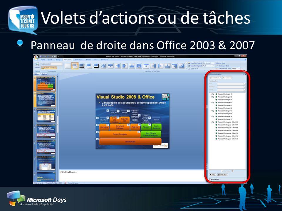 Volets dactions ou de tâches Panneau de droite dans Office 2003 & 2007