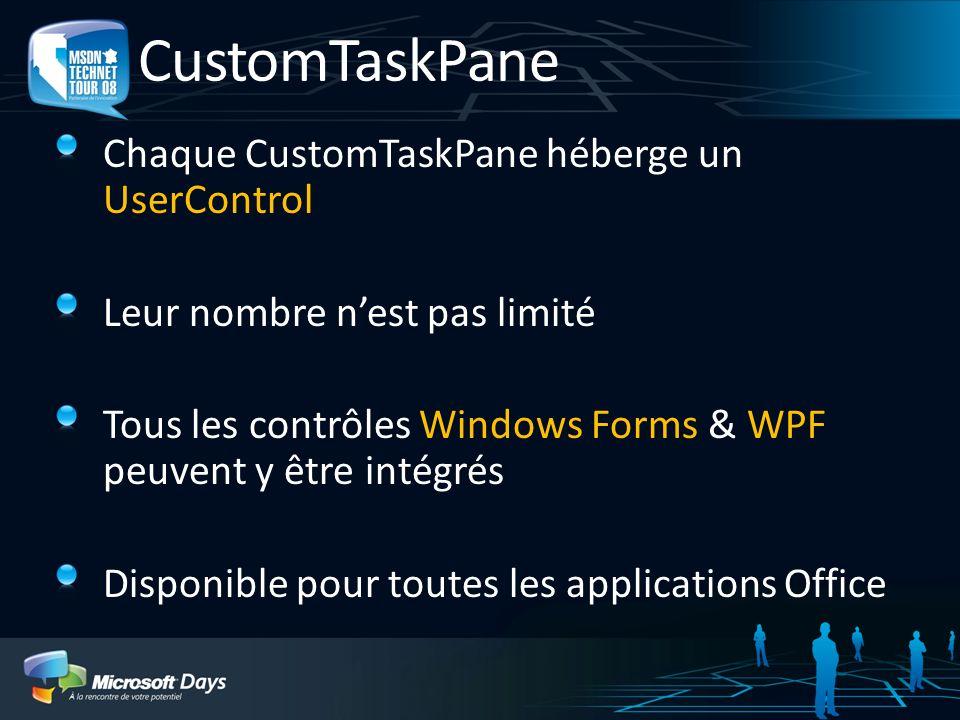 CustomTaskPane Chaque CustomTaskPane héberge un UserControl Leur nombre nest pas limité Tous les contrôles Windows Forms & WPF peuvent y être intégrés