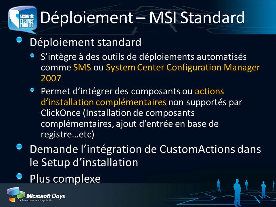Déploiement – MSI Standard Déploiement standard Sintègre à des outils de déploiements automatisés comme SMS ou System Center Configuration Manager 200