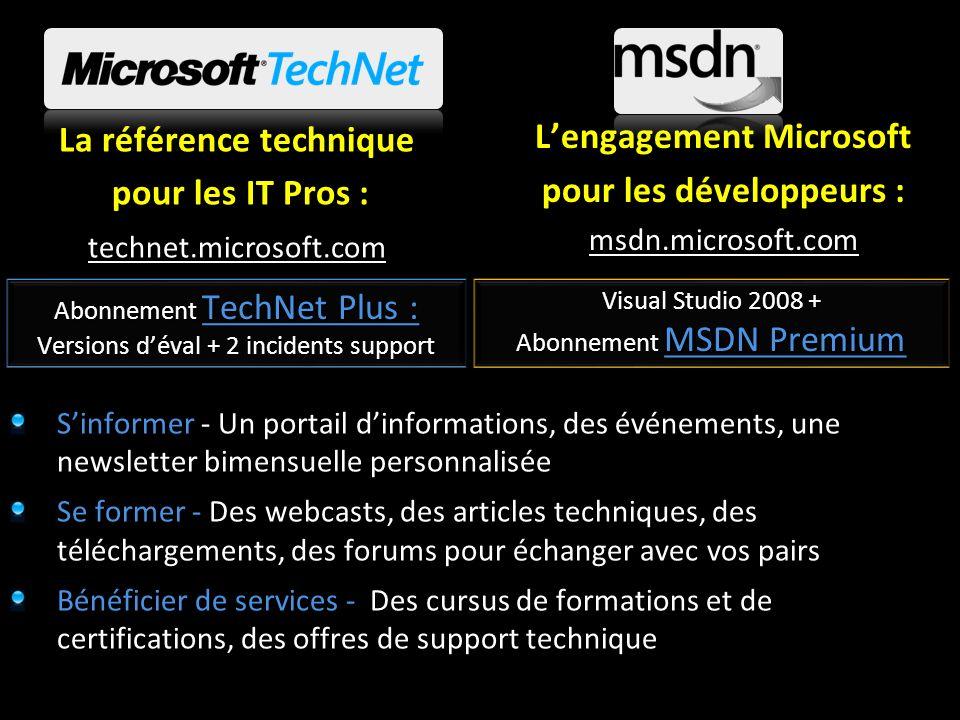 La référence technique pour les IT Pros : pour les IT Pros : technet.microsoft.com Lengagement Microsoft pour les développeurs : msdn.microsoft.com Si