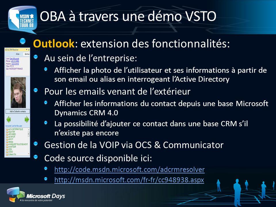 OBA à travers une démo VSTO Outlook: extension des fonctionnalités: Au sein de lentreprise: Afficher la photo de lutilisateur et ses informations à pa