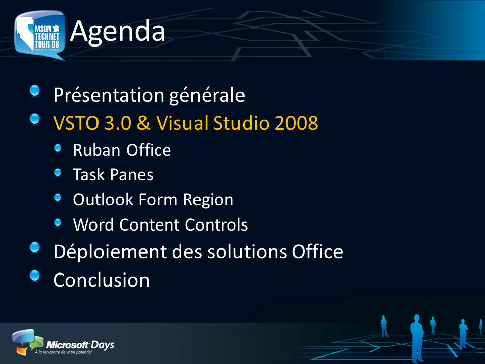 Agenda Présentation générale VSTO 3.0 & Visual Studio 2008 Ruban Office Task Panes Outlook Form Region Word Content Controls Déploiement des solutions