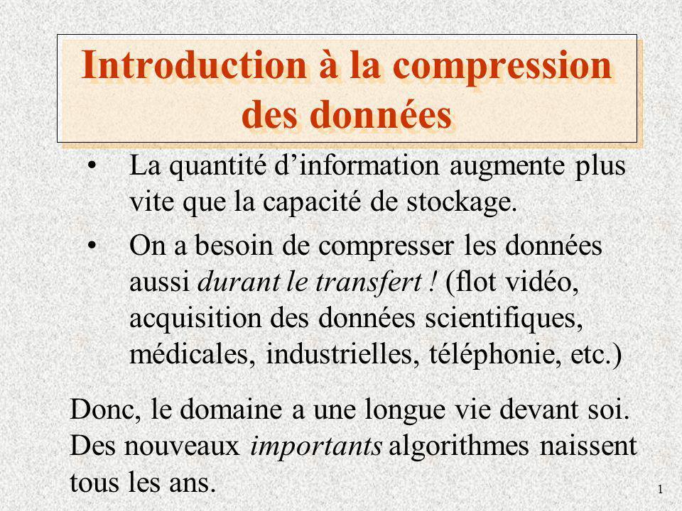 1 Introduction à la compression des données La quantité dinformation augmente plus vite que la capacité de stockage. On a besoin de compresser les don