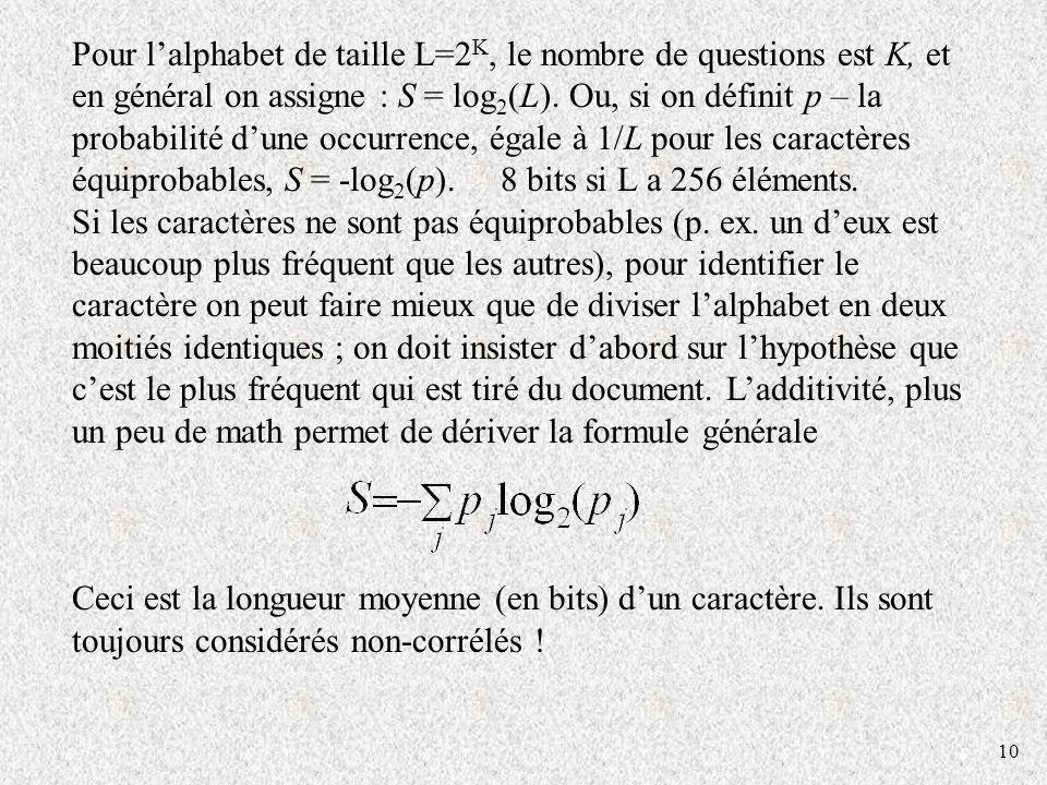 10 Pour lalphabet de taille L=2 K, le nombre de questions est K, et en général on assigne : S = log 2 (L).