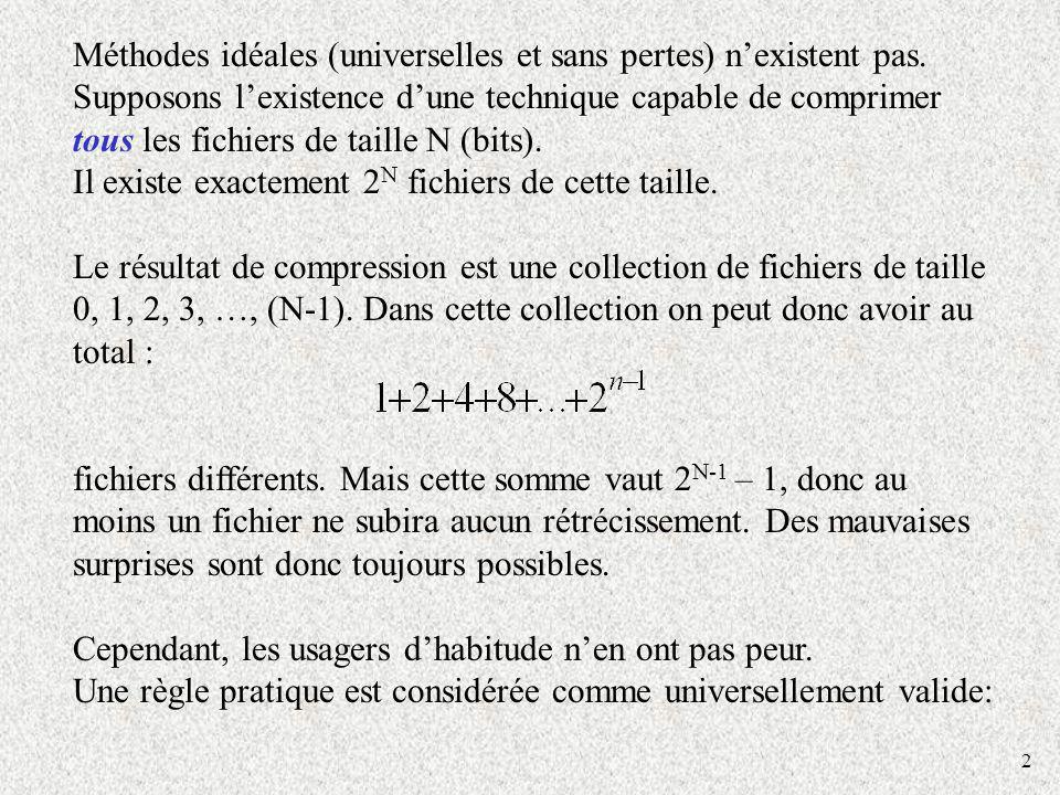 2 Méthodes idéales (universelles et sans pertes) nexistent pas. Supposons lexistence dune technique capable de comprimer tous les fichiers de taille N