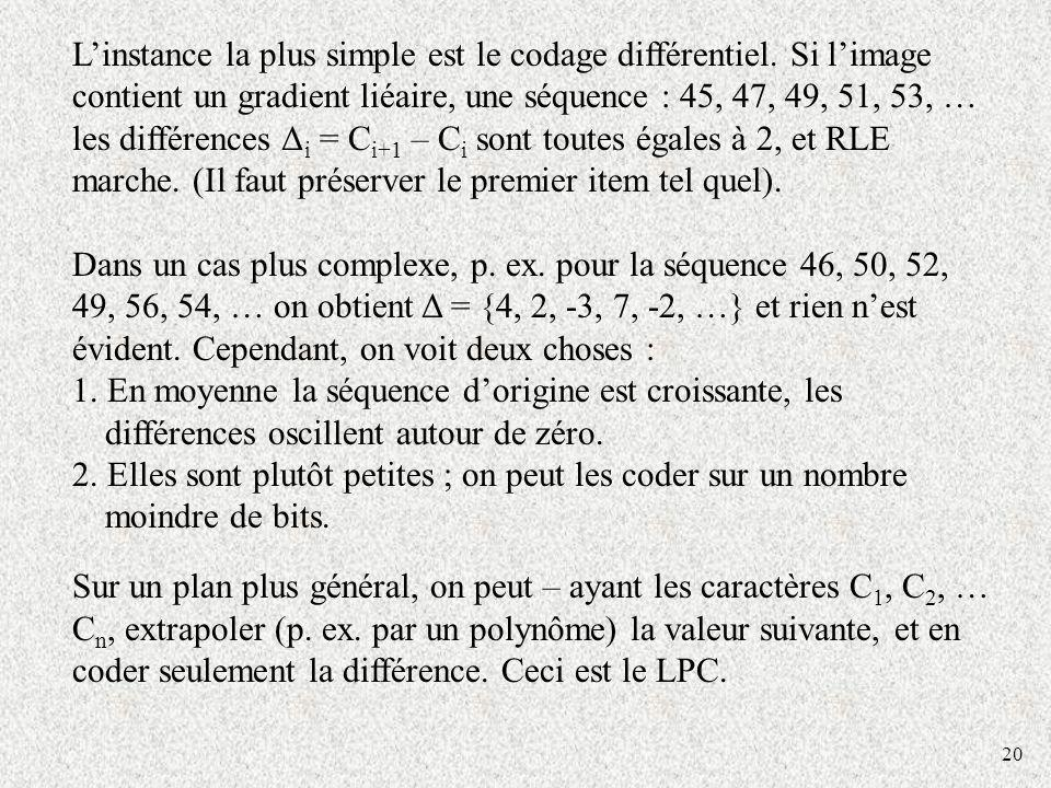 20 Linstance la plus simple est le codage différentiel. Si limage contient un gradient liéaire, une séquence : 45, 47, 49, 51, 53, … les différences Δ