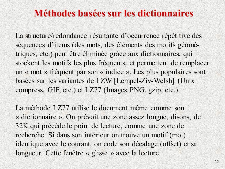 22 Méthodes basées sur les dictionnaires La structure/redondance résultante doccurrence répétitive des séquences ditems (des mots, des éléments des mo