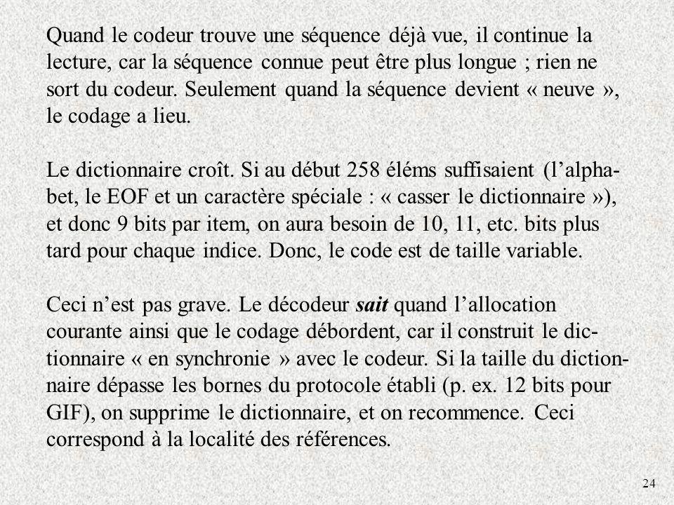 24 Quand le codeur trouve une séquence déjà vue, il continue la lecture, car la séquence connue peut être plus longue ; rien ne sort du codeur. Seulem