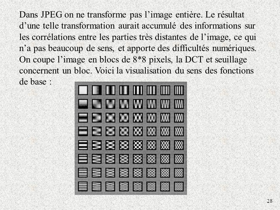28 Dans JPEG on ne transforme pas limage entière. Le résultat dune telle transformation aurait accumulé des informations sur les corrélations entre le