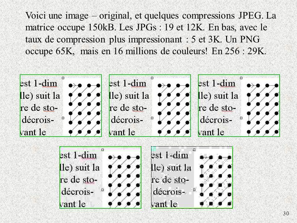 30 Voici une image – original, et quelques compressions JPEG. La matrice occupe 150kB. Les JPGs : 19 et 12K. En bas, avec le taux de compression plus