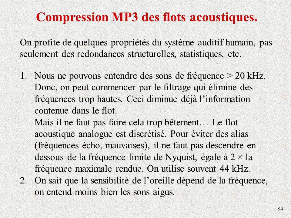 34 Compression MP3 des flots acoustiques. On profite de quelques propriétés du système auditif humain, pas seulement des redondances structurelles, st