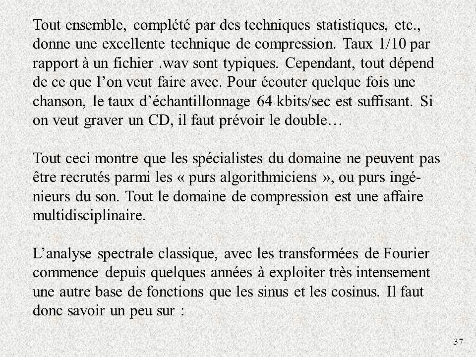37 Tout ensemble, complété par des techniques statistiques, etc., donne une excellente technique de compression. Taux 1/10 par rapport à un fichier.wa