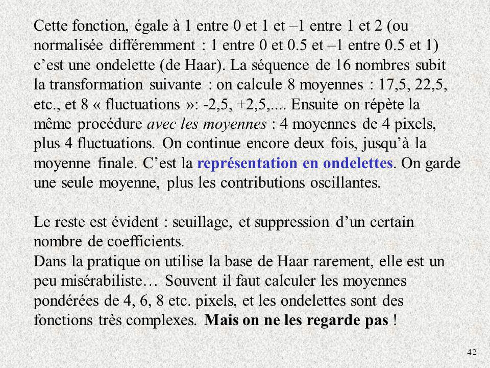 42 Cette fonction, égale à 1 entre 0 et 1 et –1 entre 1 et 2 (ou normalisée différemment : 1 entre 0 et 0.5 et –1 entre 0.5 et 1) cest une ondelette (de Haar).