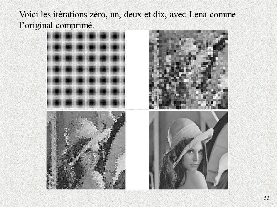 53 Voici les itérations zéro, un, deux et dix, avec Lena comme loriginal comprimé.