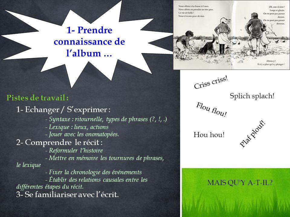 1- Echanger / Sexprimer : - Syntaxe : ritournelle, types de phrases (?, !,.) - Lexique : lieux, actions - Jouer avec les onomatopées.