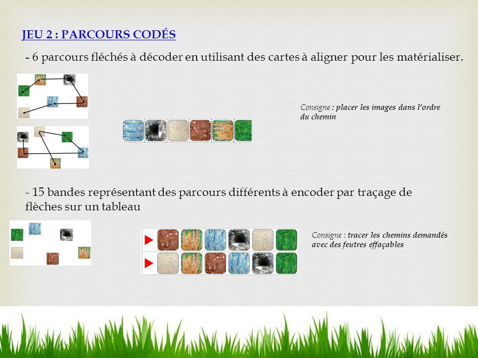 JEU 2 : PARCOURS CODÉS - 6 parcours fléchés à décoder en utilisant des cartes à aligner pour les matérialiser.