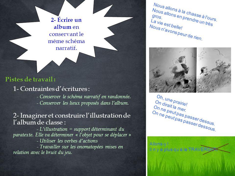 1- Contraintes décritures : - Conserver le schéma narratif en randonnée.
