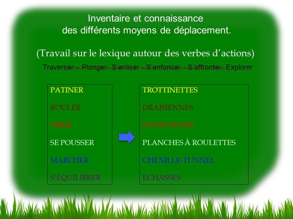 Inventaire et connaissance des différents moyens de déplacement.