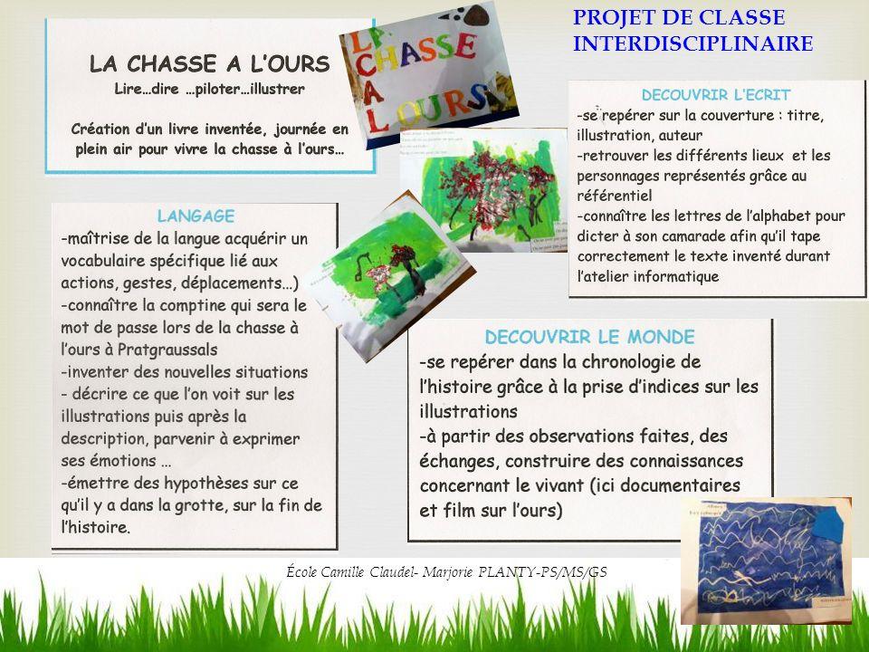 PROJET DE CLASSE INTERDISCIPLINAIRE École Camille Claudel- Marjorie PLANTY-PS/MS/GS
