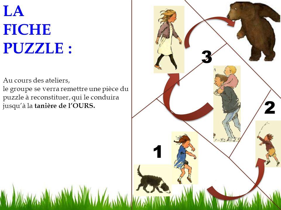 LA FICHE PUZZLE : Au cours des ateliers, le groupe se verra remettre une pièce du puzzle à reconstituer, qui le conduira jusquà la tanière de lOURS.