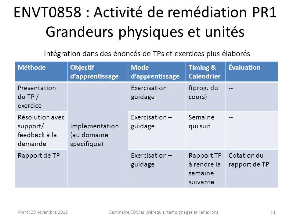 ENVT0858 : Activité de remédiation PR1 Grandeurs physiques et unités Intégration dans des énoncés de TPs et exercices plus élaborés MéthodeObjectif da