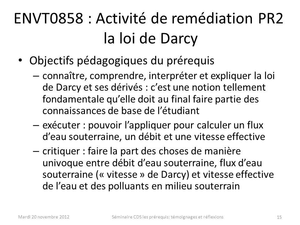 ENVT0858 : Activité de remédiation PR2 la loi de Darcy Objectifs pédagogiques du prérequis – connaître, comprendre, interpréter et expliquer la loi de