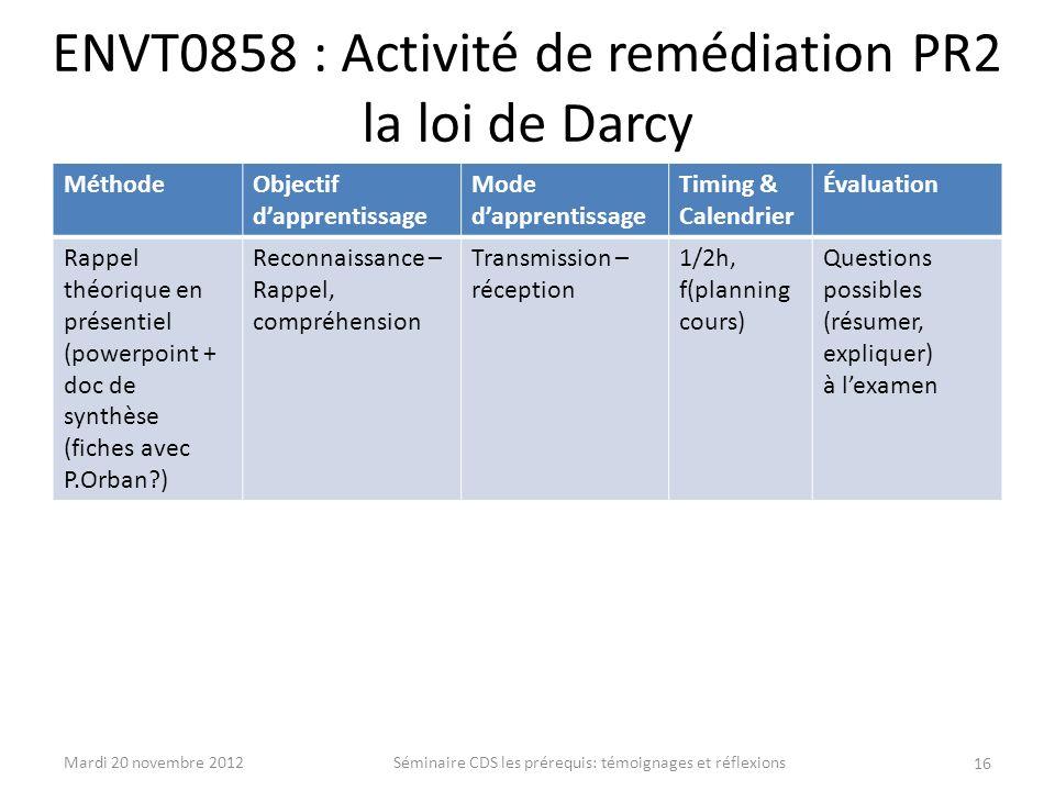 ENVT0858 : Activité de remédiation PR2 la loi de Darcy MéthodeObjectif dapprentissage Mode dapprentissage Timing & Calendrier Évaluation Rappel théori