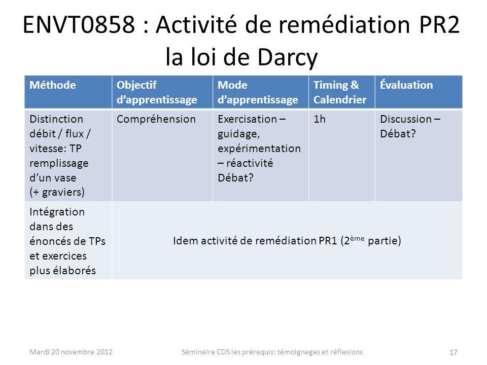 ENVT0858 : Activité de remédiation PR2 la loi de Darcy MéthodeObjectif dapprentissage Mode dapprentissage Timing & Calendrier Évaluation Distinction d