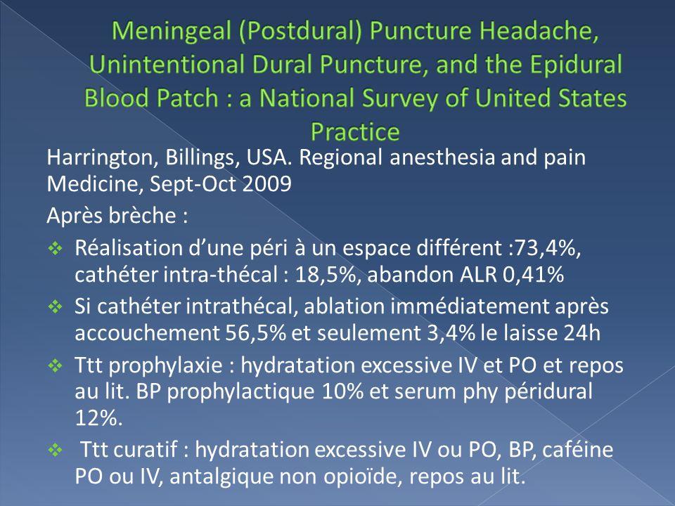 Harrington, Billings, USA. Regional anesthesia and pain Medicine, Sept-Oct 2009 Après brèche : Réalisation dune péri à un espace différent :73,4%, cat