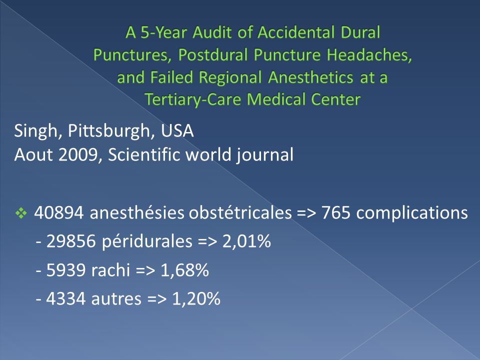 Singh, Pittsburgh, USA Aout 2009, Scientific world journal 40894 anesthésies obstétricales => 765 complications - 29856 péridurales => 2,01% - 5939 ra
