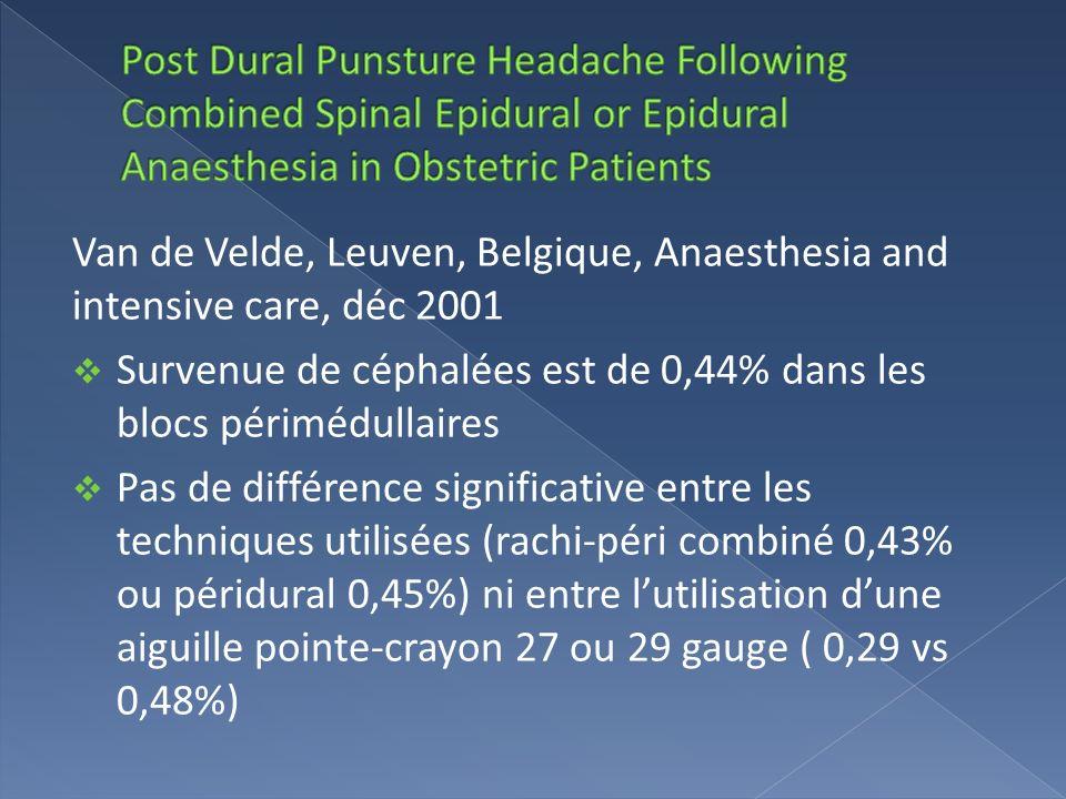 Van de Velde, Leuven, Belgique, Anaesthesia and intensive care, déc 2001 Survenue de céphalées est de 0,44% dans les blocs périmédullaires Pas de diff