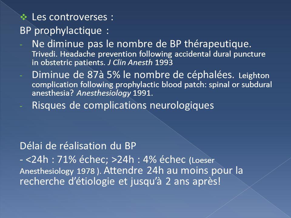Les controverses : BP prophylactique : - Ne diminue pas le nombre de BP thérapeutique. Trivedi. Headache prevention following accidental dural punctur