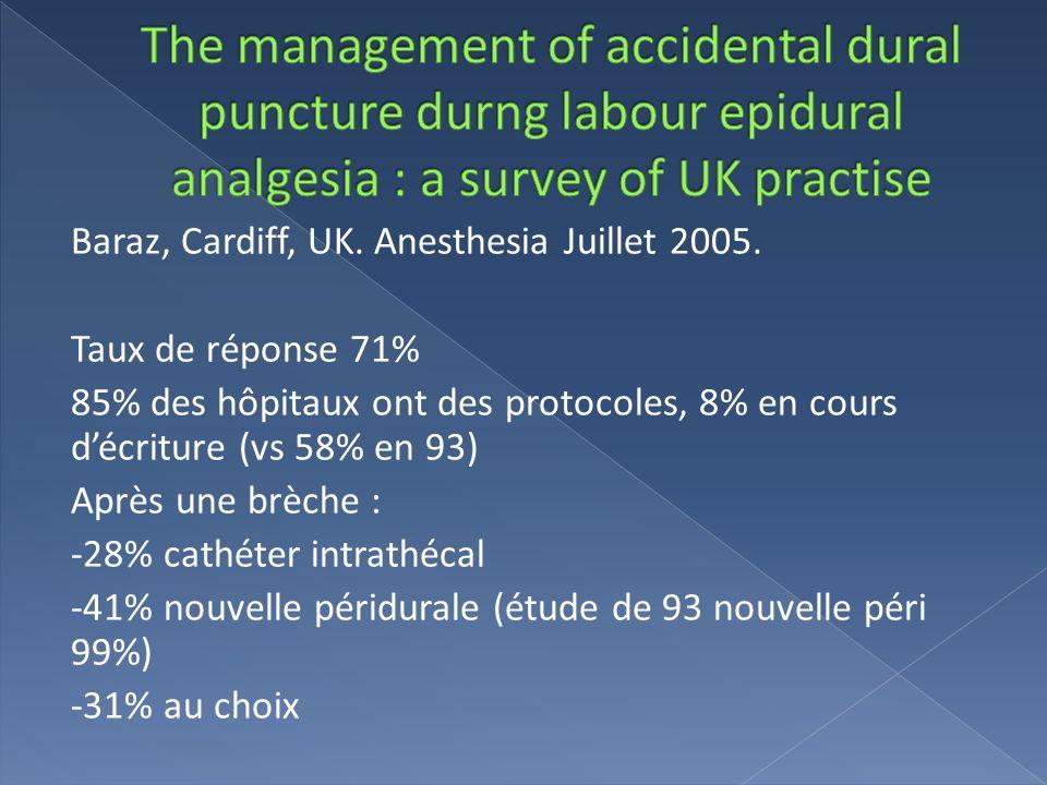Baraz, Cardiff, UK. Anesthesia Juillet 2005. Taux de réponse 71% 85% des hôpitaux ont des protocoles, 8% en cours décriture (vs 58% en 93) Après une b