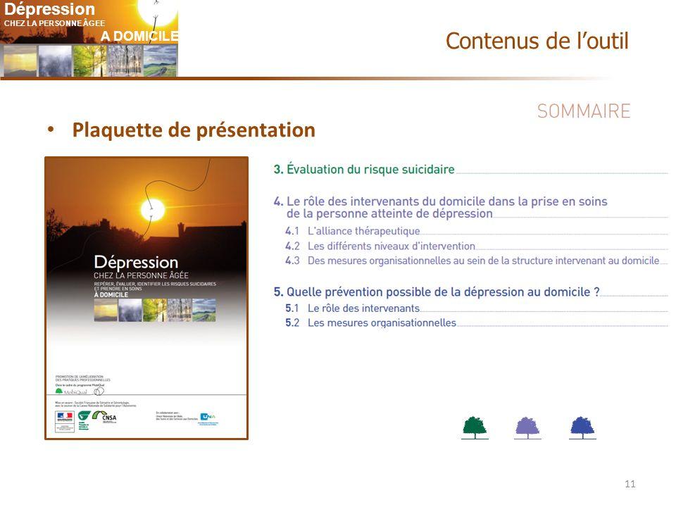 Dépression CHEZ LA PERSONNE ÂGEE A DOMICILE 11 Plaquette de présentation Contenus de loutil