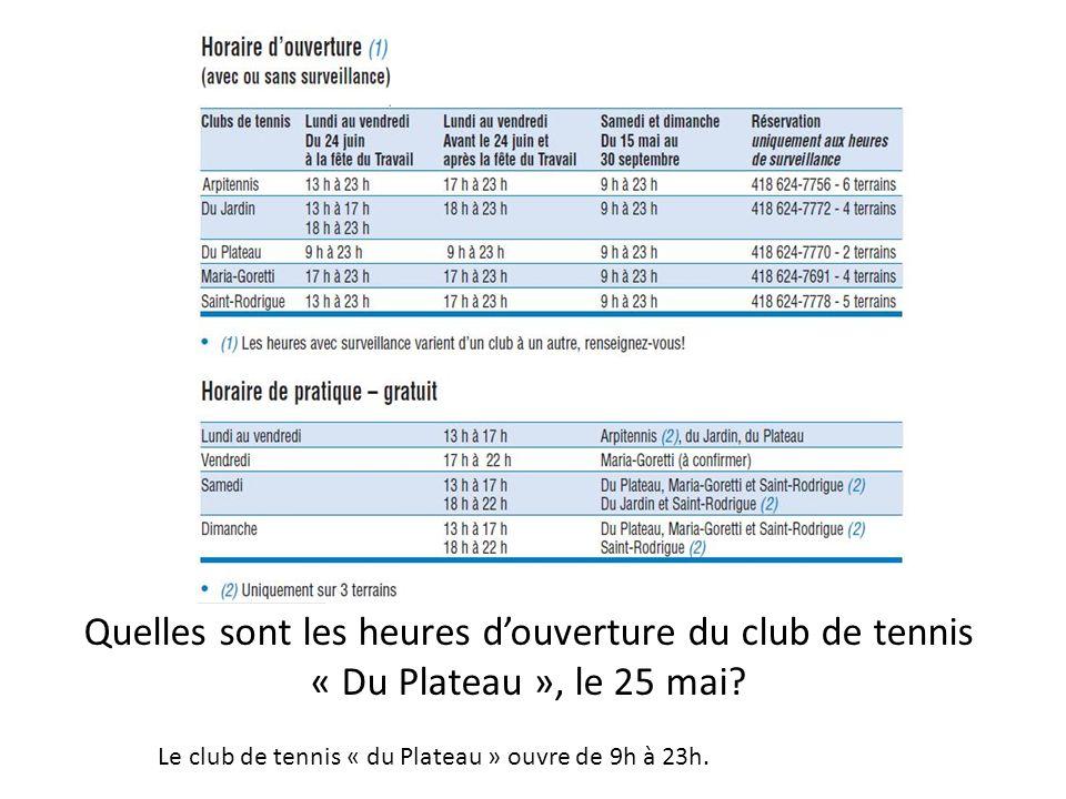 Quelles sont les heures douverture du club de tennis « Du Plateau », le 25 mai.