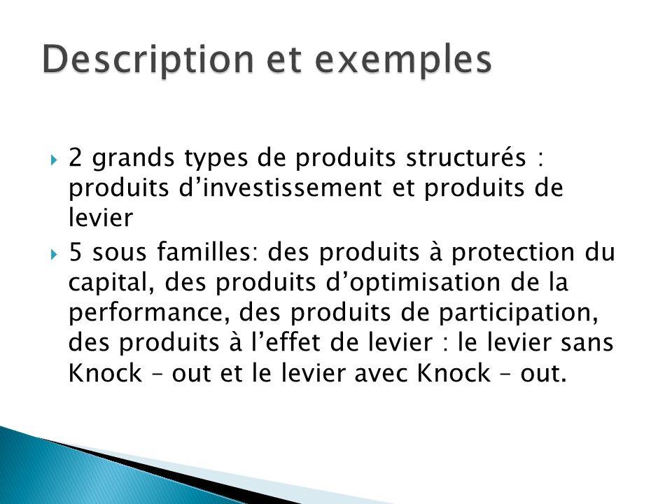 2 grands types de produits structurés : produits dinvestissement et produits de levier 5 sous familles: des produits à protection du capital, des prod