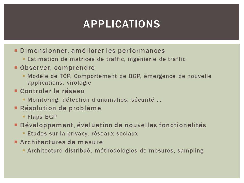 Dimensionner, améliorer les performances Estimation de matrices de traffic, ingénierie de traffic Observer, comprendre Modèle de TCP, Comportement de