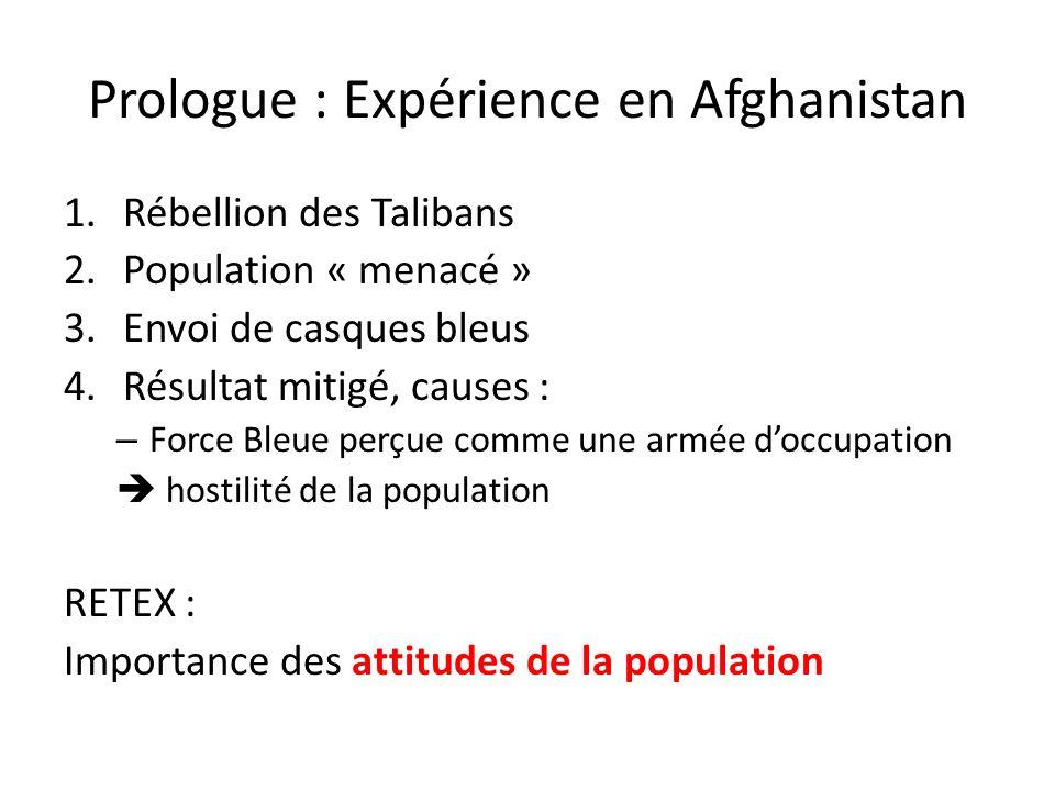 Prologue : Expérience en Afghanistan 1.Rébellion des Talibans 2.Population « menacé » 3.Envoi de casques bleus 4.Résultat mitigé, causes : – Force Ble