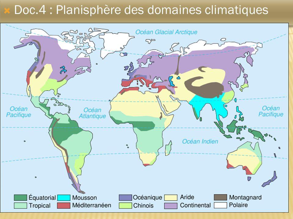 5 Doc.4 : Planisphère des domaines climatiques