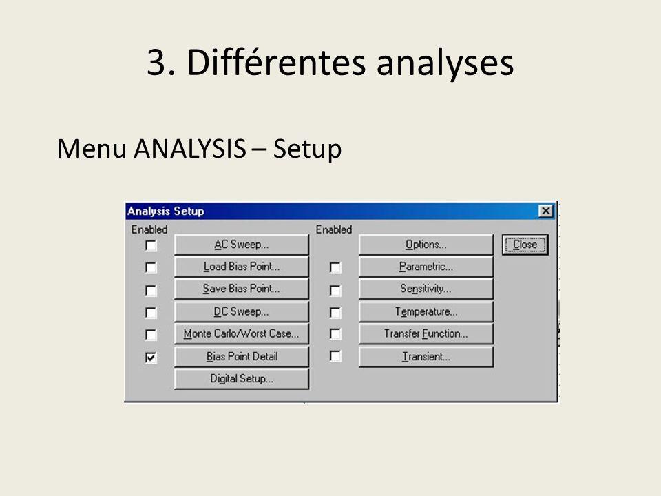 3. Différentes analyses Menu ANALYSIS – Setup