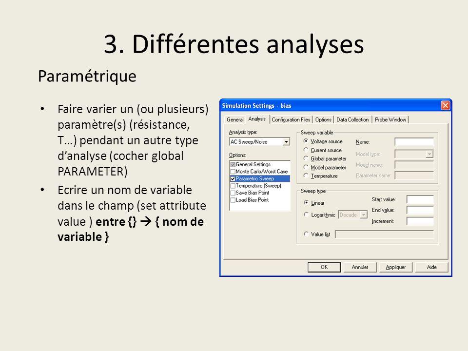 3. Différentes analyses Faire varier un (ou plusieurs) paramètre(s) (résistance, T…) pendant un autre type danalyse (cocher global PARAMETER) Ecrire u