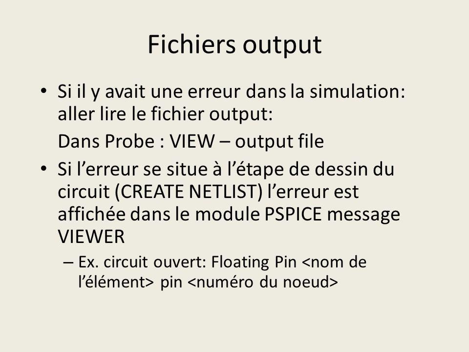 Fichiers output Si il y avait une erreur dans la simulation: aller lire le fichier output: Dans Probe : VIEW – output file Si lerreur se situe à létap