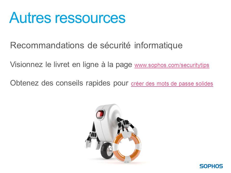 Autres ressources Recommandations de sécurité informatique Visionnez le livret en ligne à la page www.sophos.com/securitytipswww.sophos.com/securityti