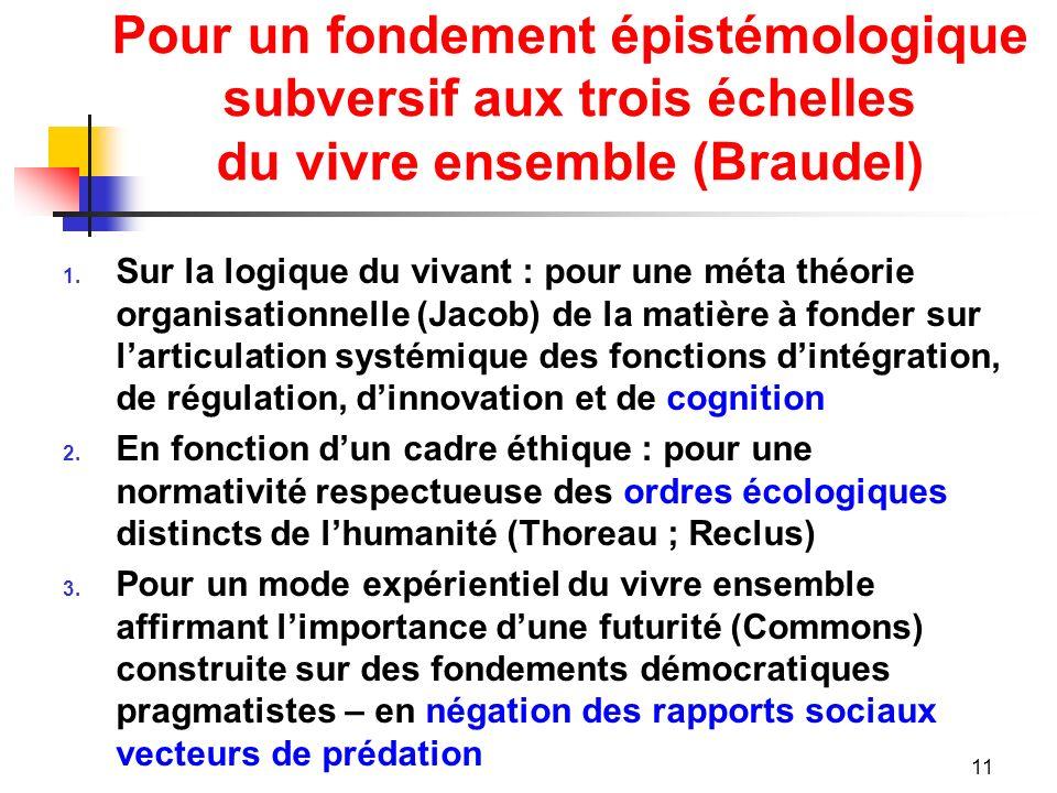 Pour un fondement épistémologique subversif aux trois échelles du vivre ensemble (Braudel) 1.