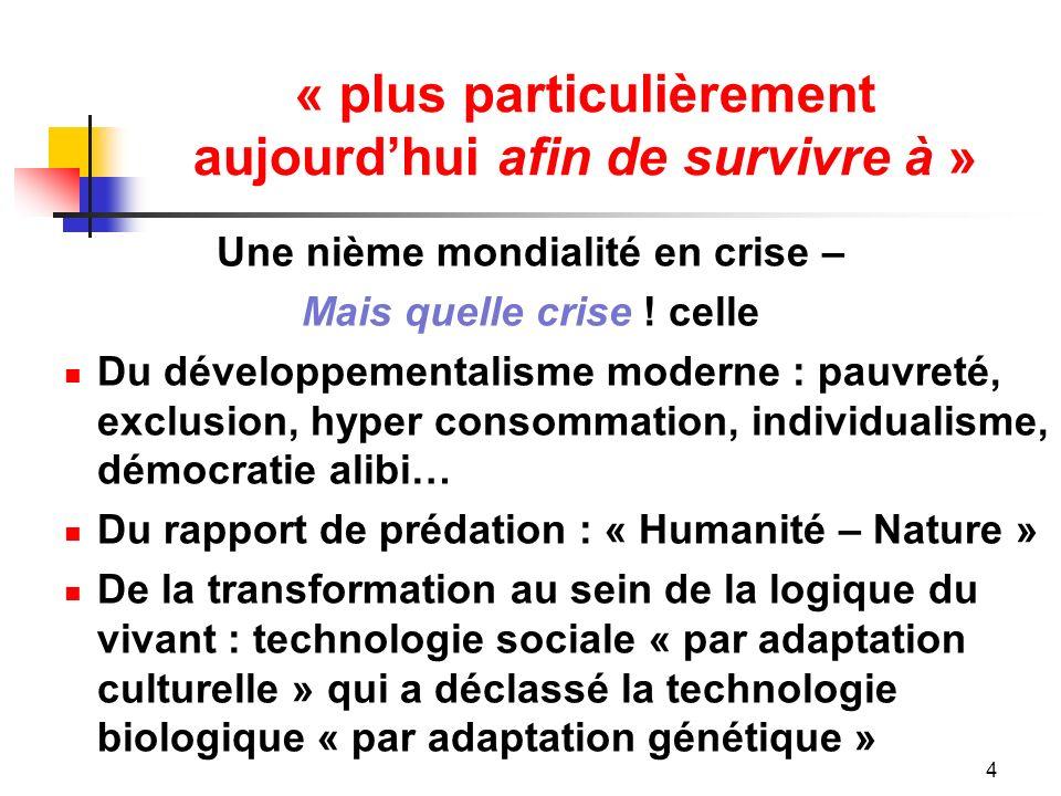 « plus particulièrement aujourdhui afin de survivre à » Une nième mondialité en crise – Mais quelle crise .