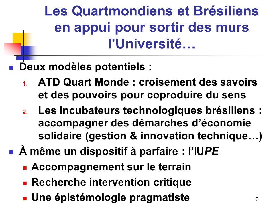 Les Quartmondiens et Brésiliens en appui pour sortir des murs lUniversité… Deux modèles potentiels : 1.