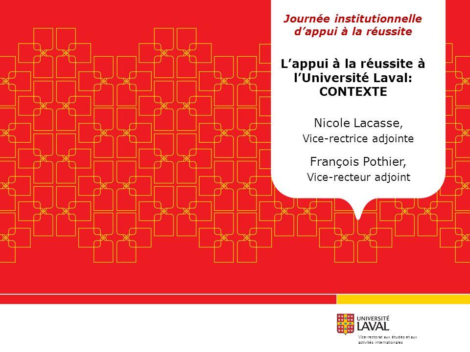 Nicole Lacasse, Vice-rectrice adjointe François Pothier, Vice-recteur adjoint Journée institutionnelle dappui à la réussite Lappui à la réussite à lUn