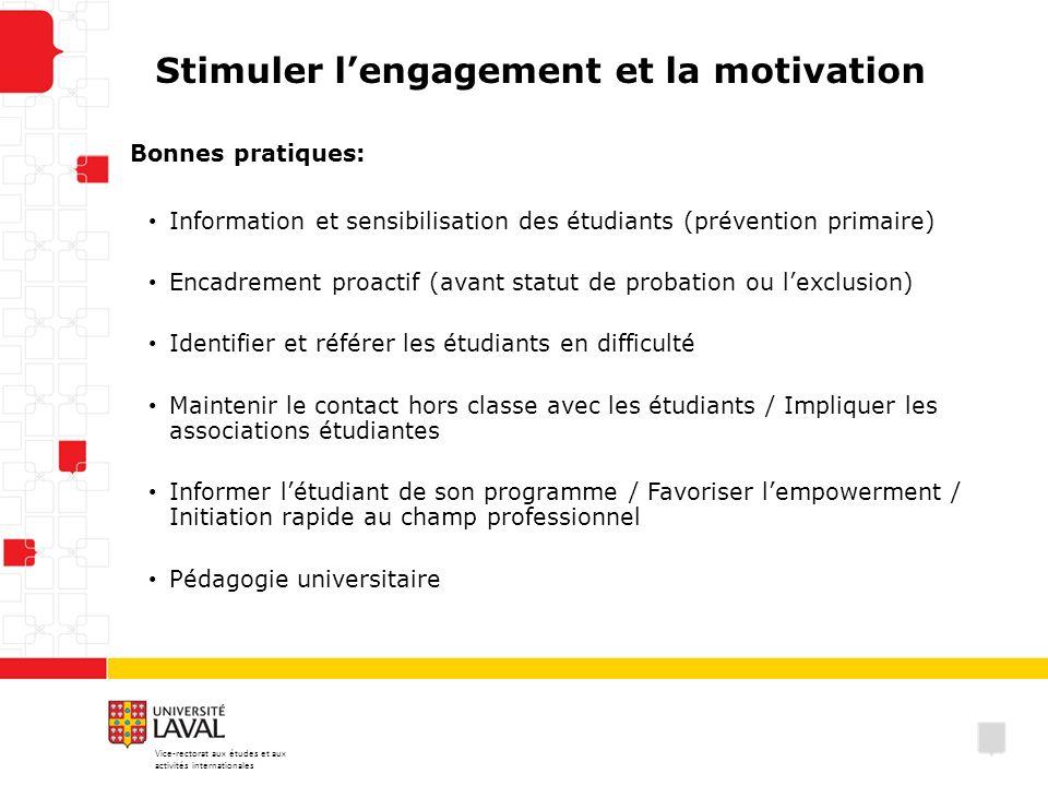 Stimuler lengagement et la motivation Bonnes pratiques: Information et sensibilisation des étudiants (prévention primaire) Encadrement proactif (avant